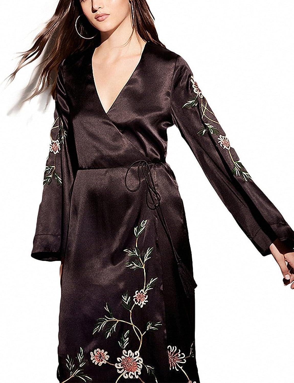 Hiuwa Womens Dress Black Floral Embroidery Long Line Deep VNeck Laceup Belt