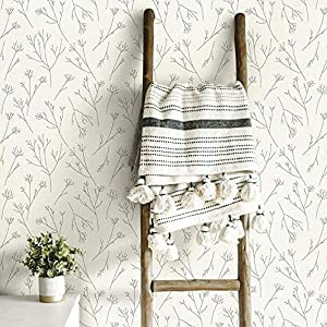 RoomMates RMK11677WP Twigs RMK1167, Grey & White