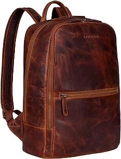 """STILORD """"Kelly"""" Vintage Lederrucksack Groß für Business Schule Uni Moderner Laptop Rucksack 15 Zoll Messenger Rucksack DIN A4 Echtes Leder, Farbe:Kara - Cognac"""