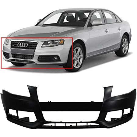 Front Bumper Cover Compatible with 2008-2012 Audi A5 Quattro Primed with Headlight Washer Holes Conv//Coupe