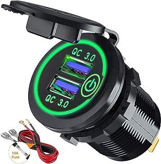Snabbladdning, 3,0 billaddare, uttag 12 V/24 V, 36 W, aluminium, QC3.0 dubbel USB-snabbladdare, eluttag med LED voltmeter ...
