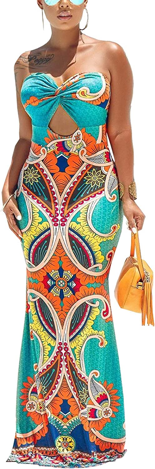 Womens Spaghetti Strap Popular products Leaf Printed OFFicial site Maxi Bodycon Bandage Dress B