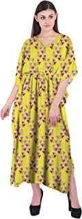 RADANYA Floral Women Casual Maxi Kaftan Loose 3/4 Sleeve Cotton Dress Caftan