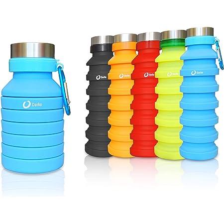 PRiiiS Borraccia portatile pieghevole in silicone da viaggio bottiglie da palestra Grigio scuro