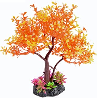 Saim Artificial Orange Yellow Tree Plastic Plant Decor for Aquarium Fish Tank Bonsai Ornament 8.6