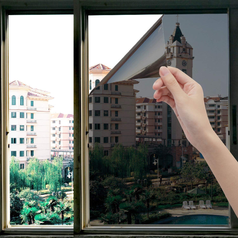 OFHome One Way Window Privacy Tint Film Sun Blocking Anti UV Window Sticker Heat Insulation Glass Film Self-Adhesive Static Cling Mirror Sun Film for Home Office Diamond Black Silver (23.6inX118in)