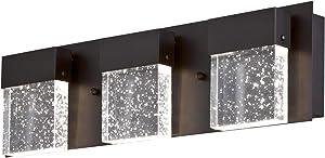 Westinghouse Lighting 6372600 Cava II Three, 21-Watt LED Indoor Vanity Light, Matte Black Finish with Bubble Glass Wall Fixture, One Size