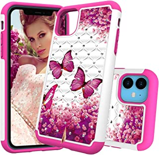 iPhone 11 Case, DOOGE Luxury Studded Rhinestone Crystal Bling Diamond Case Dual Layer Bumper Shockproof Protective Case Pretty Fashion Girls Women Case for Apple iPhone 11 in 6.1inch