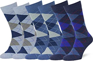 Men's 6pk Classic Cotton Solid & Patterned Dress Socks