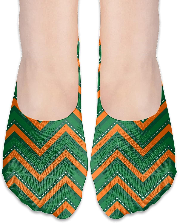 No Show Socks Women Men For Orange Green Line Plaid Flats Cotton Ultra Low Cut Liner Socks Non Slip