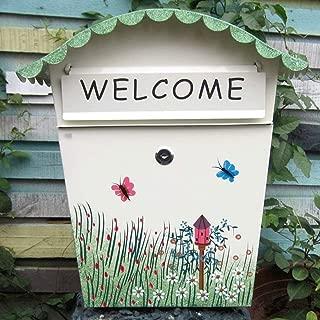 ZYK Mailbox, Vertical Wall-Mounted Painted Outdoor Wall Lock Rain Water Inbox, Hand-Painted, Literary Fan, Book Magazine Magazine Mail Box Suggestion Box