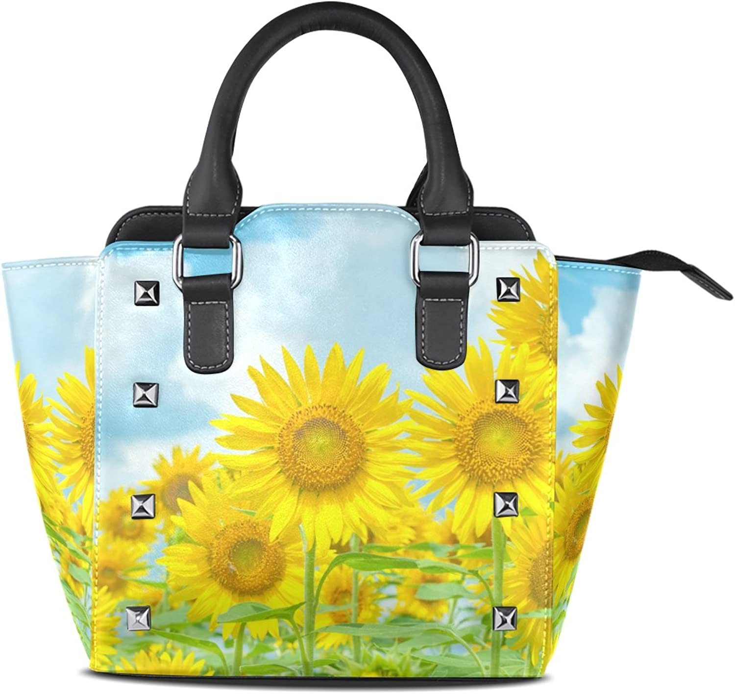 Sunlome Retro Sunflowers Print Women's Leather Tote Shoulder Bags Handbags