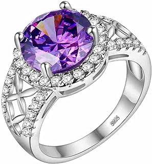 Uloveido الأرجواني مكعب زركونيا الفضة الزفاف الفرقة مجوهرات الزفاف الدائري للنساء J679