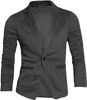 Uxcell Men's Casual Slim Fit Lightweight Button Closure Cardigan Blazer Sports Coat W Pockets One Button Dark Gray S (UK 34)