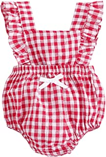 BubbleColor Baby Girl Romper Ruffle Sleeve Jumpsuit Buffalo Check One Piece Bodysuit for Newborn Toddler Princess Clothes