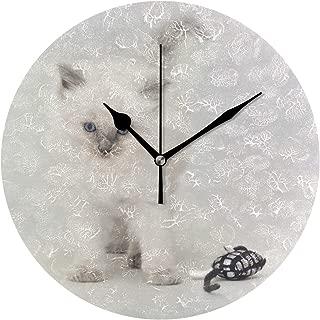 MIKA ブルーポイントラグドール 子ネコ 掛け時計 壁掛け 時計 掛け時計おしゃれ 連続秒針 静音 円形 部屋装飾 プレゼント 直径約25CM