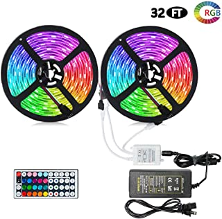 Litake LED Strip Lights, Waterproof 32.8ft LED RGB Color Changing SMD 5050 Tape Light with 44 Keys IR Remote Controller and 12V 5A Power Supply for TV Party Christmas DIY Decoration