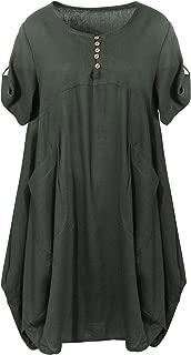 SCOFEEL Women's Cotton Linen Tunic Dress Lagenlook Summer Tops with Pockets Plus Size