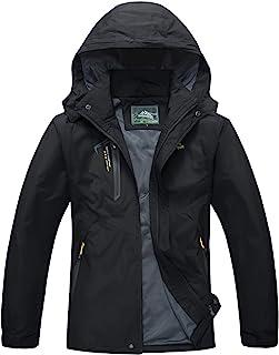 Men's Outdoor Jacket 4 Pockets Hooded Windproof Jacket Waterproof Rain Coat