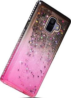 Herbests Kompatybilne z telefonem Samsung Galaxy A6 2018 etui na telefon komórkowy, brokat, płynny piasek, diament, dynami...
