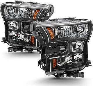 For 2015 2016 2017 Ford F-150 F150 Factory Halogen Model Black Housing Headlight Lamp Set (Driver & Passenger Side)