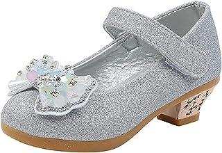 Zapatos de Princesa para niñas Zapatos de Vestir Ligeros de Cuero Informal Mary Jane Zapatos de Baile de Cristal de tacón ...
