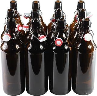 Botellas con tapón mecánico - 12 botellas con tapón mecánico para cerveza de cristal marrón ,