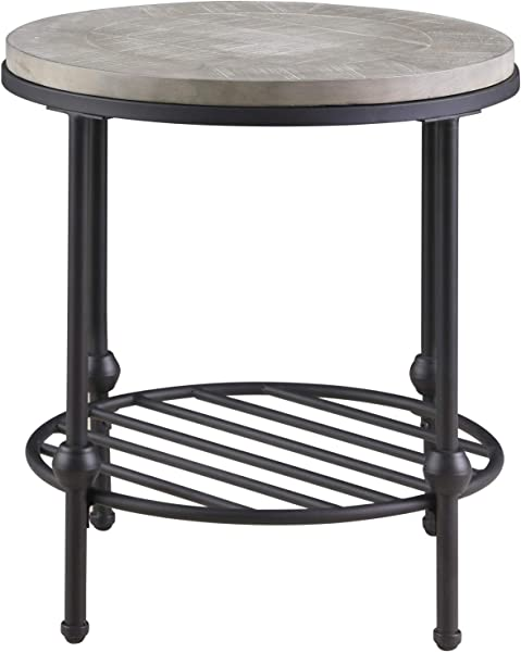 Willis Round End Table In Antique Gray With Wood Top Metal Base And Open Storage Shelf By Artum Hill