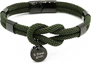 globi Paracord Braided Rope Bracelet for Men Women   Lightweight Nautical Unisex Cuff Bracelet with Stainless Steel Magnet...