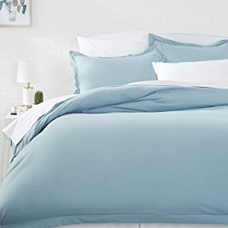 AmazonBasics Light-Weight Microfiber Duvet Cover Set - Twin/Twin XL, Spa Blue