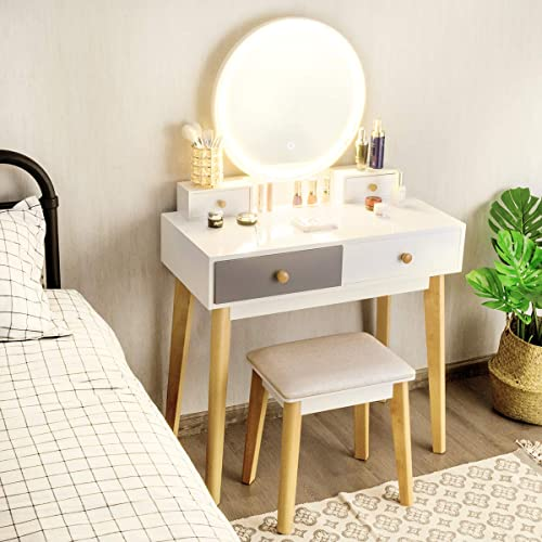 high quality CHARMAID outlet online sale Vanity Set with Lighted Mirror, 3 Lighted Modes Touch Screen Dimming Mirror, Modern Bedroom Makeup Dressing Table online with 4 Sliding Drawers and Cushioned Stool for Girls Women Gifts, White online sale