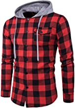 New Long Sleeve Men Plaid Shirt,Vanvler Male Hooded Blouse Pullover Tops Autumn Casual