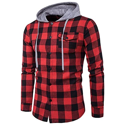 Plaid Check Red White Mens Long Sleeved Drawstring Hooded Classic Sweatshirts