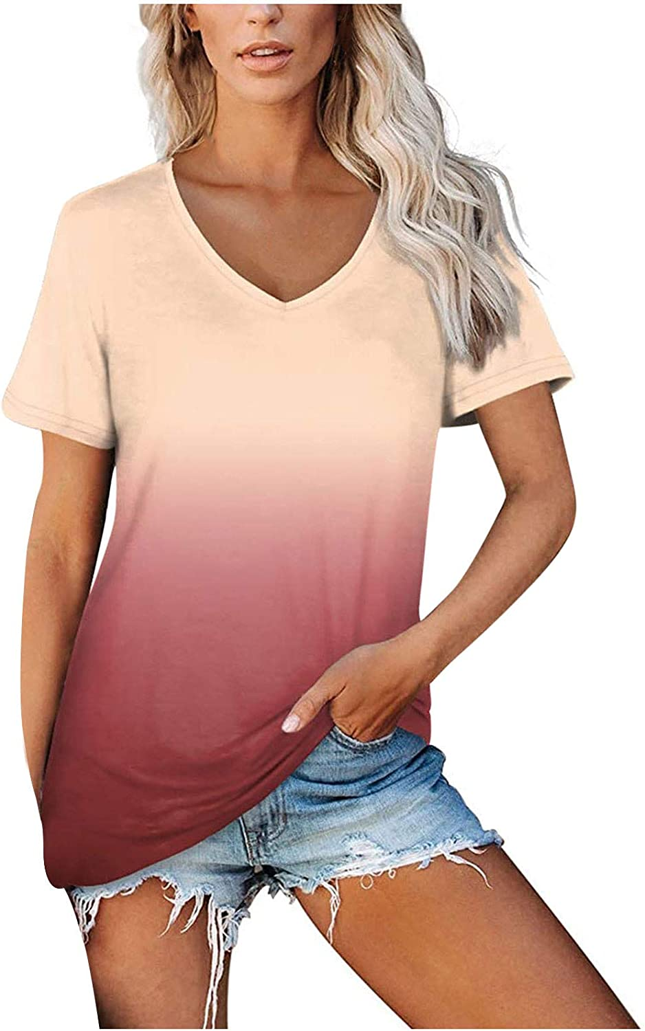 Short Sleeve Summer Tops for Women Casual Gradient Color T-Shirts Tops Ladies Fashion Crewneck Tunic Tops Plus Size