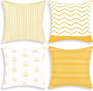 Fascidorm Set of 4 Pillow Covers Throw Pillow Case 18 x 18 Inch Decorations Sofa Throw Pillow Case Cushion Covers Zippered Pillowcase (Yellow, 18 x 18)