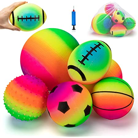 Spike and Bag beetoy 6 Pcs Inflatable Sport Toddler Balls Set with Pump for Toddler Includes Football Volleyball Basketball Rugby Backyard Game Outdoor Sports for Kids Baseball