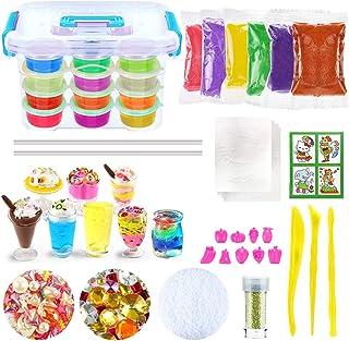 comprar comparacion DIY Slime Kit, Slime DIY Toy para niños con 12 colores de barro de arcilla de cristal, 8 mini tazones de helado, 9 moldes ...