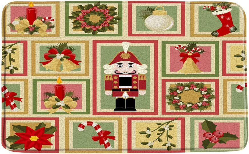 ZKJSMGS Merry Quantity limited Christmas Bath Mat Poinsettia Nutcracker Japan's largest assortment Be Candle