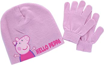Peppa Pig Hello Peppa Pink Knit Beanie Hat and Glove 2 piece Girls Set