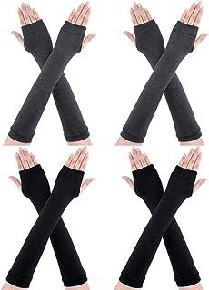 CNNIK 4 paia guanti lunghi senza dita scaldamuscoli invernali a gomito guanti lunghezza gomito guanti foro pollice per don...