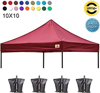 ABCCANOPY Pop Up Canopy Replacement Top Cover 100% Waterproof Choose 18+ Colors, Bonus 4 x Weight Bags (Burgundy)