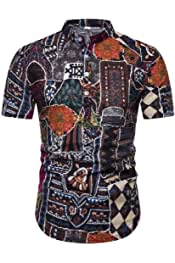 Coolred-Men Button Long Sleeve Relaxed Dashiki African Slim-Fit Shirts Tops