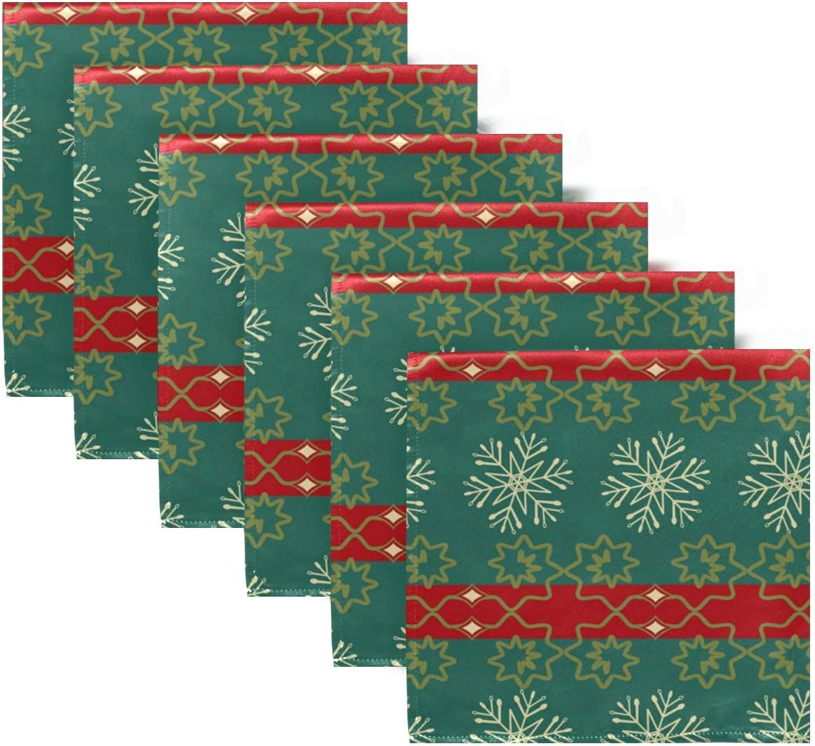 Merry Christmas Cloth Easy-to-use Dinner Napkins of Snowflake Set Washable Max 88% OFF 6