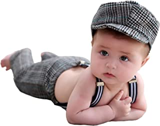 Baby Boy Photography Props Infant Gentleman Hat+Overalls Photo Shoot Outfits Romper Suit Clothes