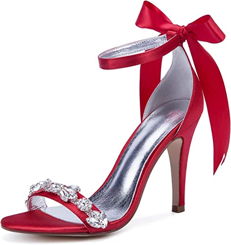 JRYYUE Chaussures de Mariage Mariage Femmes Boucle Peep Toe Satin Strass Talon Haut Sandales Ivoire 10.5CM  meilleurs prix et styles les plus frais
