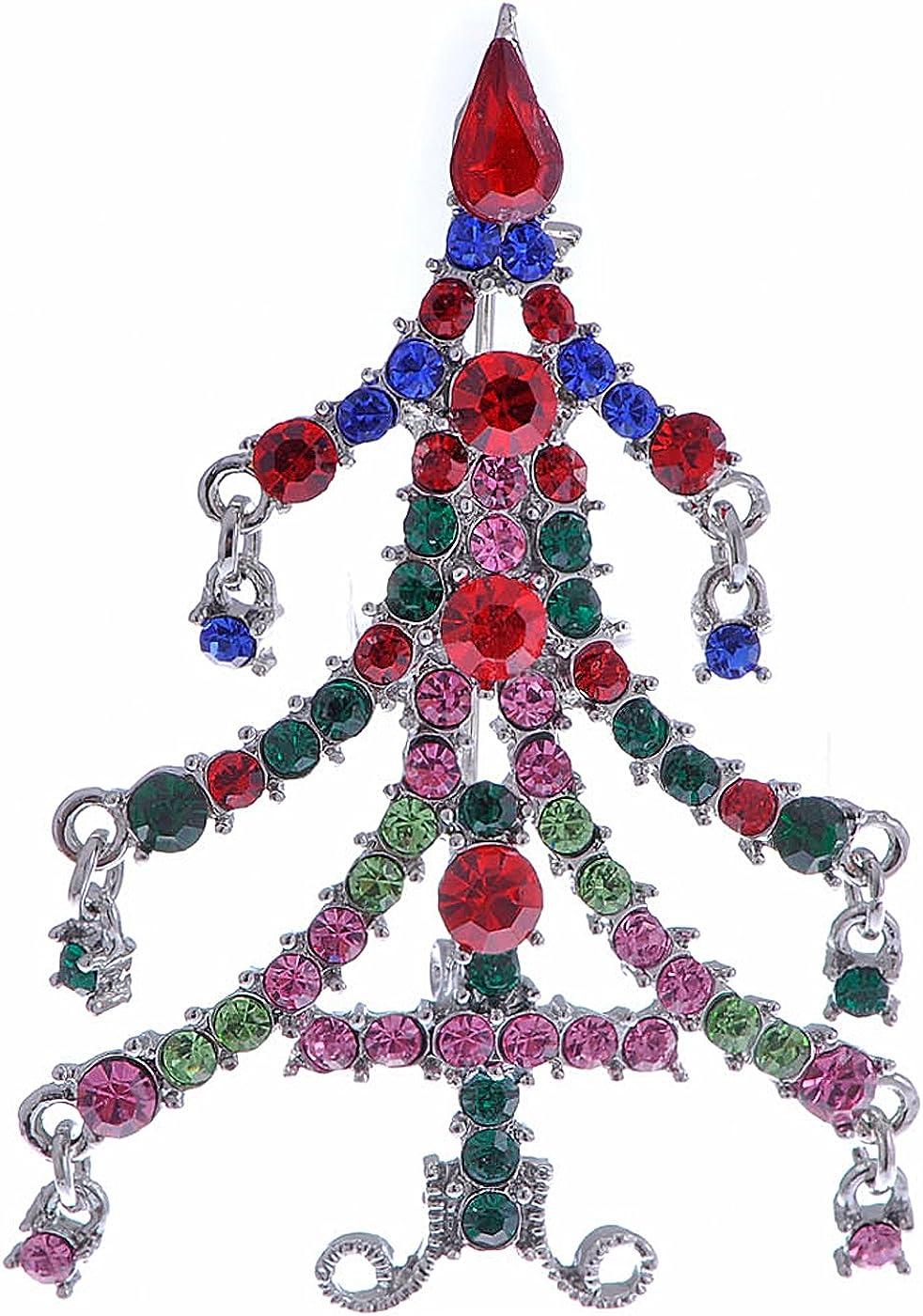 Alilang Magnificent Merry Christmas Tree Holiday Season Crystal Rhinestone Pin Brooch