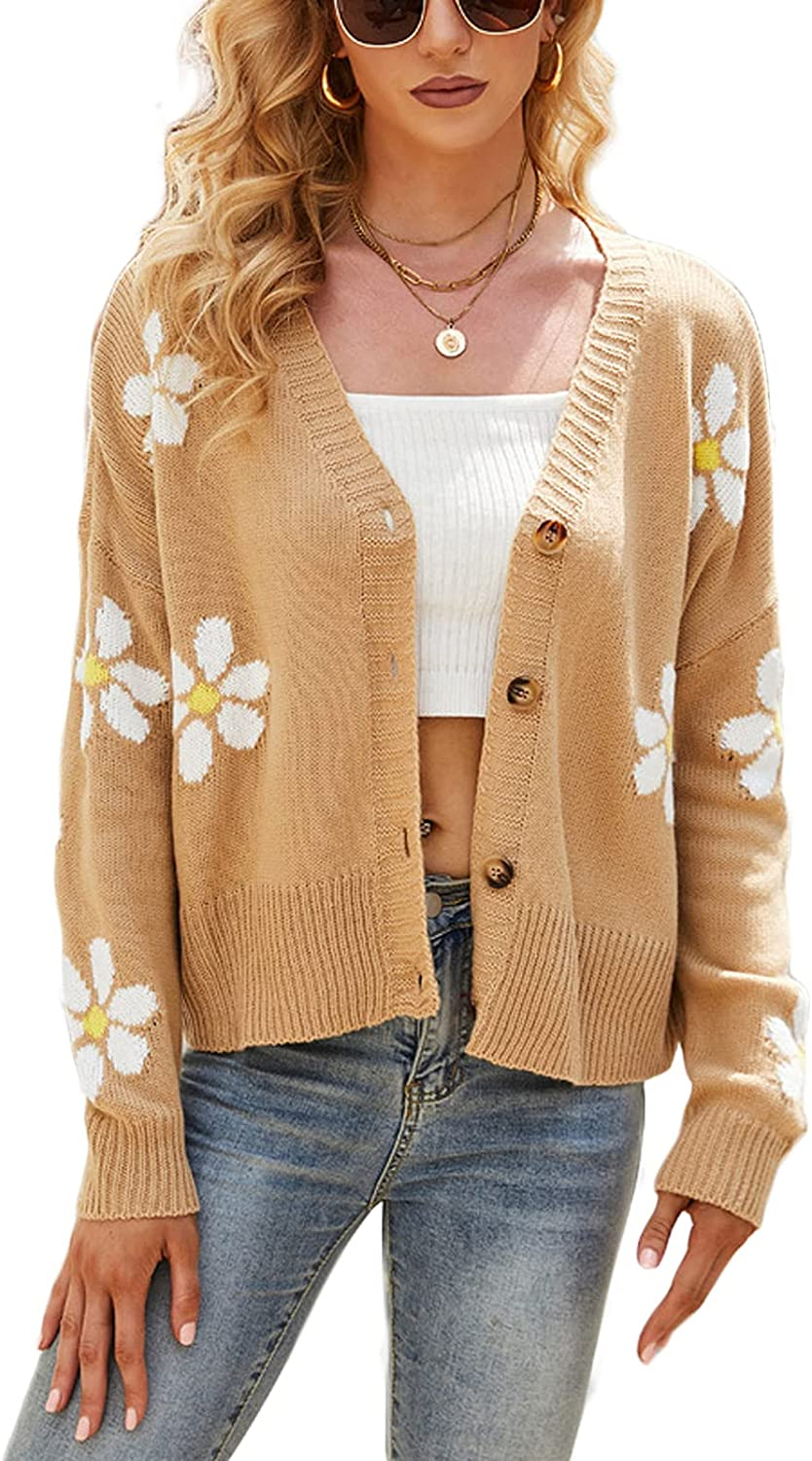Women Y2k Knitted Sweater V Neck Long Sleeve Knit Cardigan Button Down Loose Casual 90s Knitwear Coat