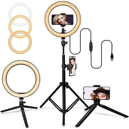 10インチ自撮りリングライト、調節可能な三脚付き、3色モード10輝度、携帯スタンド付き、ミニ三脚、Vlog、youtube用照明、生放送、自撮りなどの動画撮影に対応 スマホ生放送用照明、顔美化・肌美化ライト、生放送人気ライト、撮影用多機能照明、撮影ライト、動画撮影・自撮りハイビジョンリングライト・撮影用ライト バレンタインギフト