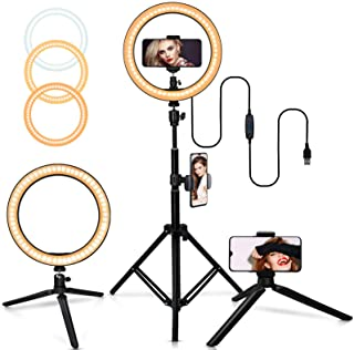 "10"" Selfie Ring Light with Adjustable Tripod Stand, 3 Modes 10 Brightness Levels with 120 LED Bulbs 5500K, LED Ring Light ..."