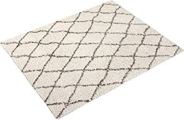 Amazon Basics - 8'X10' Plush Diamond Trellis Shag Rug, Ivory